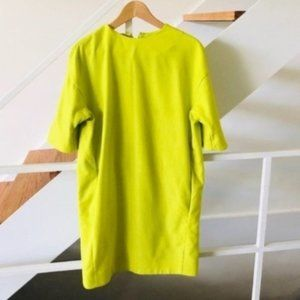 COS Dayglo Yellow Wool Blend Shift Dress